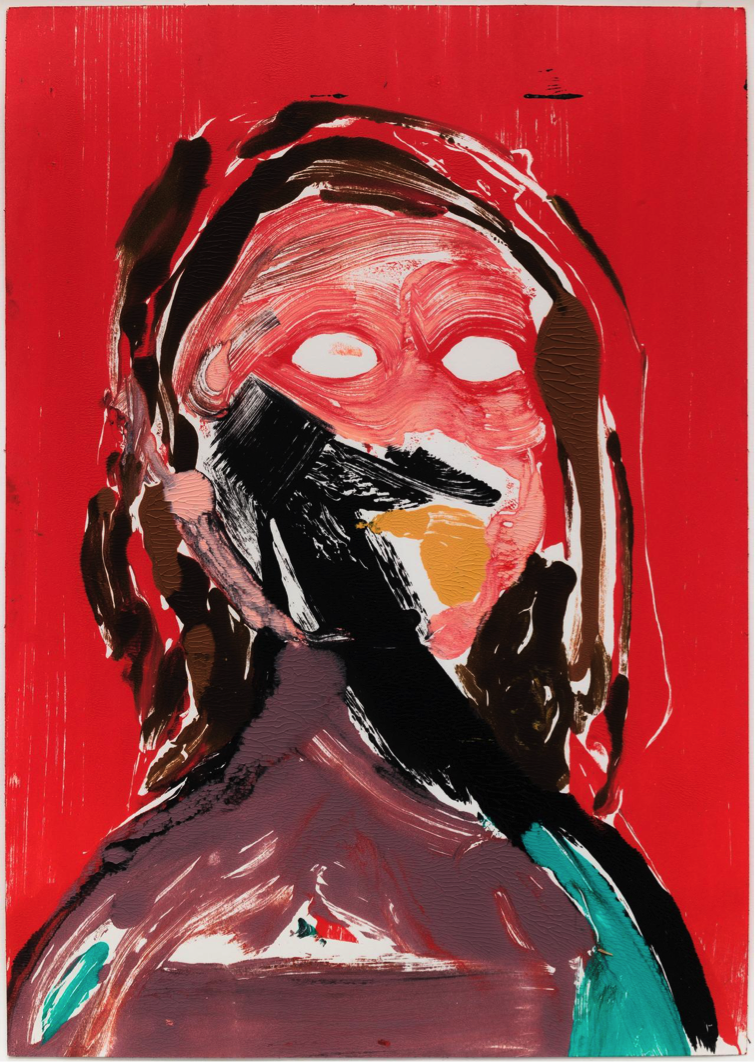 Nicola Tyson, Red Self Portrait, 2002, Acrylic on paper