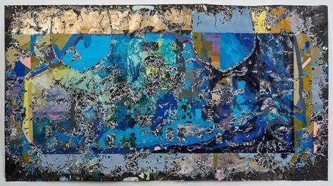 Katherine Tzu-Lan Mann, Dunhuang III, acrylic, sumi ink and collage on paper, 2016