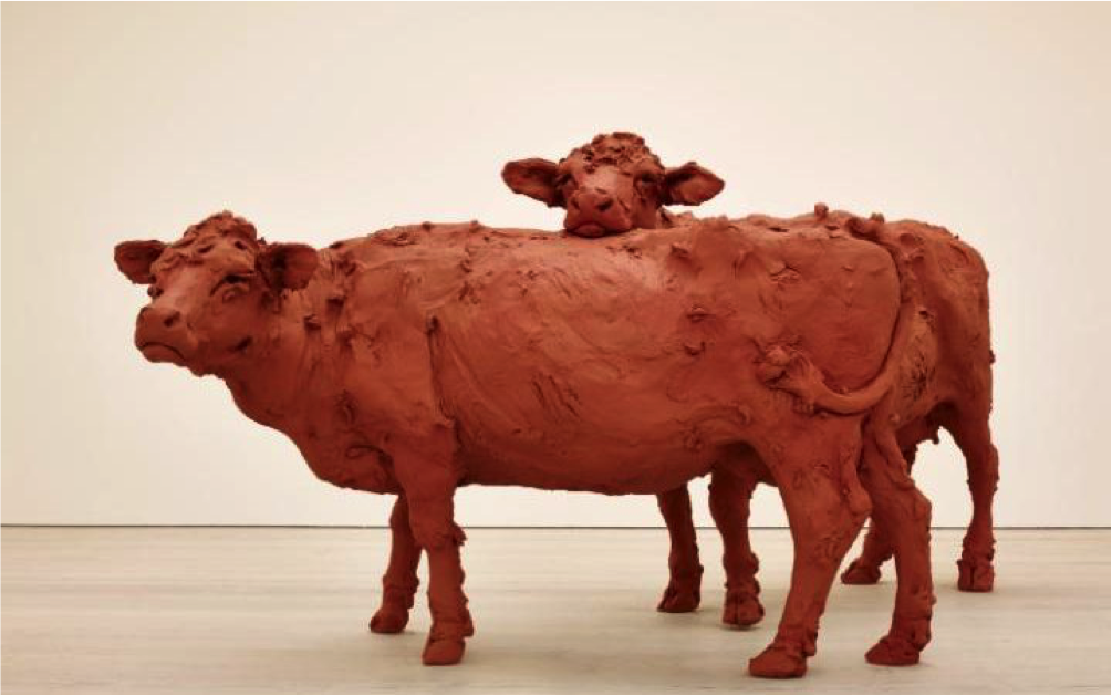 Two Cows by Stephanie Quayle, 2013, Air-hardening clay, chicken wire, steel