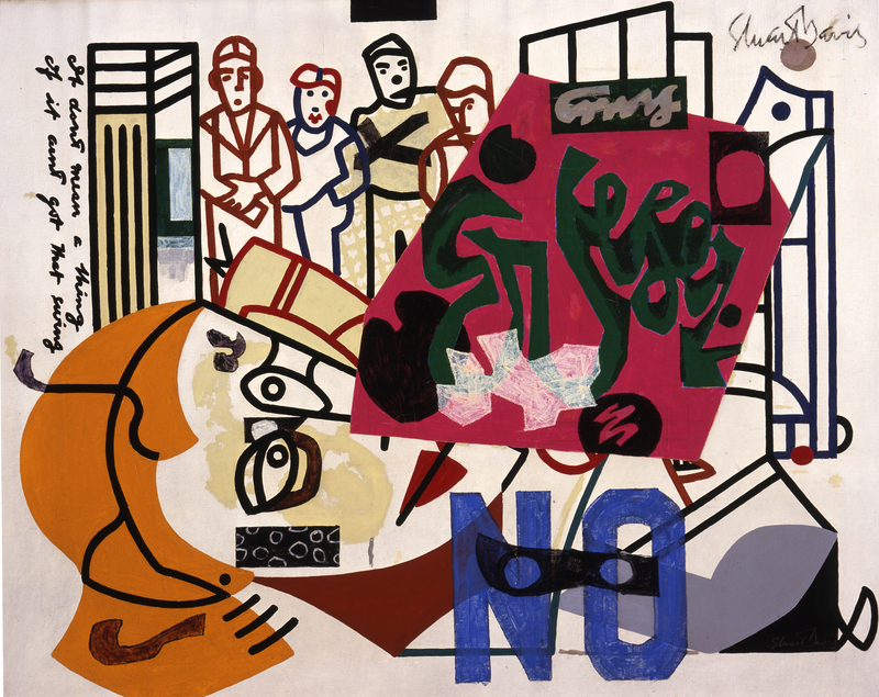 Stuart Davis (1892–1964), American Painting, 1932 and 1942–54. Oil on canvas, 40 × 50 1/4 in. (101.6 × 127.7 cm). Joslyn Art Museum, Omaha; on extended loan from the University of Nebraska at Omaha Collection. © Estate of Stuart Davis / Licensed by VAGA, New York, NY